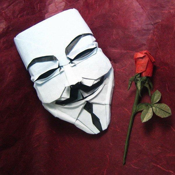 Máscara V de Vendeta origami