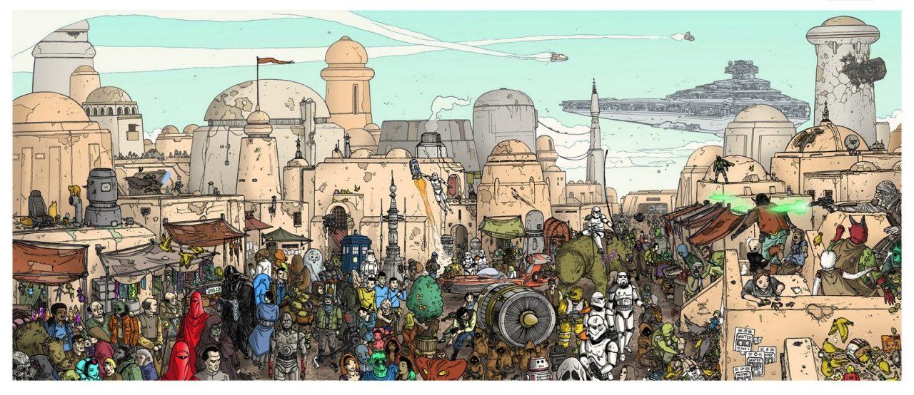 Ilustracion de la Guerra de la Galaxias