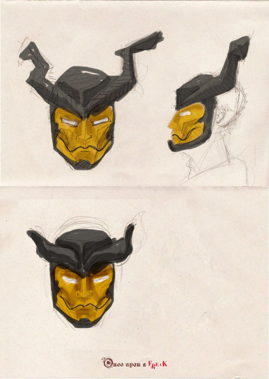 Boceto mascara cuernos